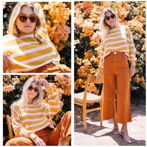 New Free People Just My Stripe Cropped Sweater